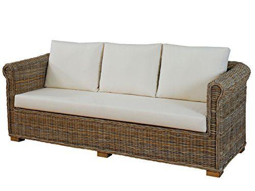 """Wohnzimmer-Sofa """"Nizza"""" aus echtem, ungeschältem Rattan / 3-Sitzer Lounge-Sofa mit Polster (Natur-Grau)"""