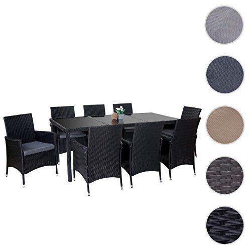 Mendler Poly-Rattan-Garnitur Terni, Garten Sitzgruppe Tisch + 8 Sessel, Alu ~ anthrazit, Kissen grau