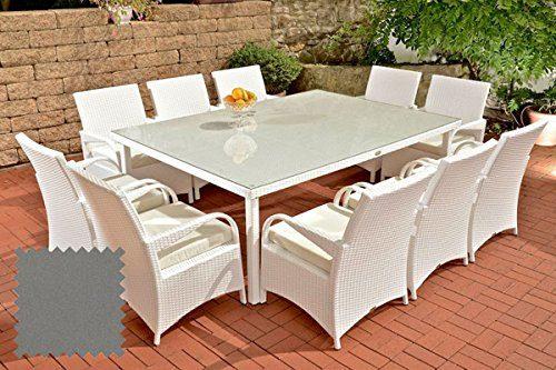 CLP Polyrattan XXL Sitzgruppe PIZZO | Gartengarnitur bestehend aus 10 Stühlen und einem Tisch | In verschiedenen Farben erhältlich Rattanfarbe: Weiß, Bezugsfarbe: Eisengrau