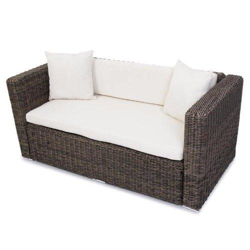 Polyrattan Grau Garten Gartensofa Poly - Rattan Sofa naturgrau Lounge Outdoor