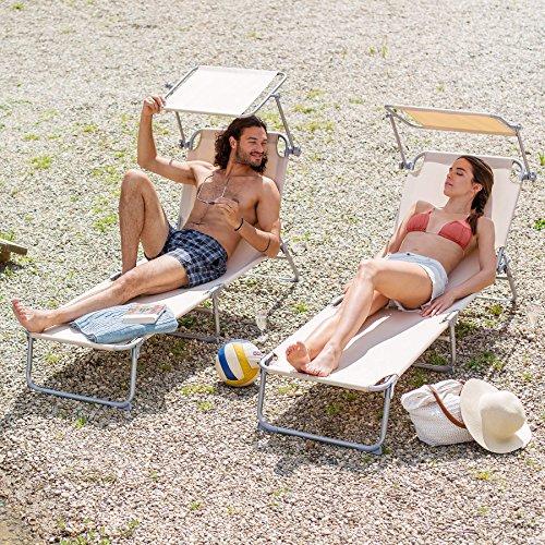 TecTake Gartenliege Sonnenliege Strandliege Freizeitliege mit Sonnendach 190cm -diverse Farben- (2 Stück Beige)