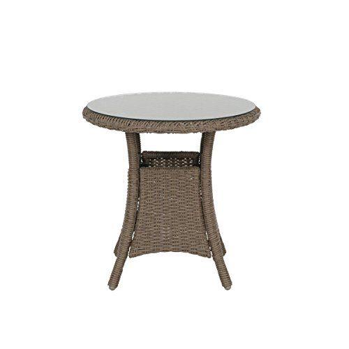 greemotion Beistelltisch Garda braun, kompakter Balkontisch mit runder Glastischplatte, Gartentisch aus hochwertigem Aluminium und Poly-Rattan, witterungsbeständig und pflegeleicht