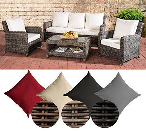 CLP Gartengarnitur SAN FERNANDO | Sitzgruppe mit 7 Sitzplätzen | Gartenmöbel-Set aus Polyrattan | In verschiedenen Farben erhältlich Rattan Farbe grau-meliert, Bezugfarbe: Cremeweiß