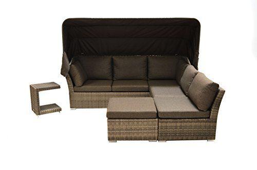 Ploß Polyrattan-Loungeset Rabida - XL-Gartenmöbel-Set 5-teilig in Champagner mit Auflagen - Design-Loungeset mit Sofa-Element & Hocker-Tisch & Ottomane - Outdoor-Lounge aus Poly-Rattan
