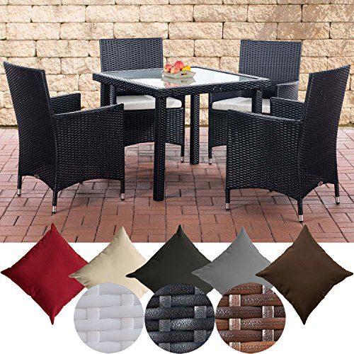 CLP Balkon-Sitzgruppe RIO aus Polyrattan | Gartengarnitur mit Aluminiumgestell | Outdoor-Möbel für Balkon und Terrasse | Wetterfester Tisch mit Stühlen | In verschiedenen Farben erhältlich Schwarz, Bezugsfarbe: Cremeweiß