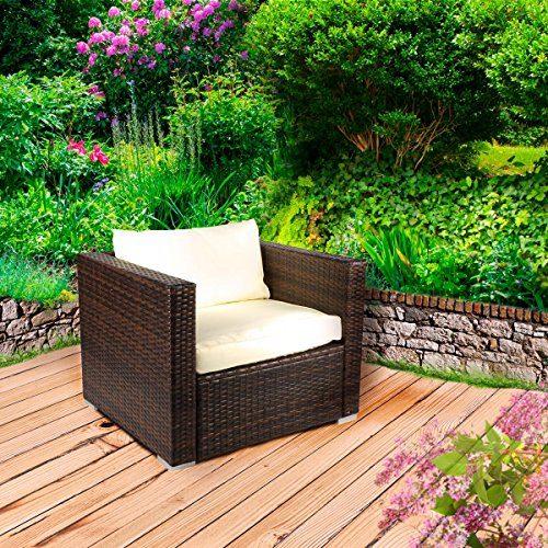 Rattan Lounge Sessel Sofasessel Braun für Gartenmöbel Möbel Sitzgarnitur Sitzgruppe Polyrattan