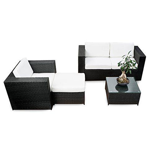 XINRO® erweiterbares 12tlg. Polyrattan Lounge Möbel Set Balkon - schwarz - Sitzgruppe Garnitur Gartenmöbel Balkon Lounge Terrasse - inkl. Lounge Sofa + Sessel + Hocker + Tisch + Kissen