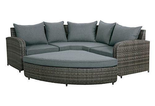 Lounge-Set, Loungeset, Eckset, Loungemöbel, Gartenloungemöbel, Rattanlounge, Gartengarnitur, Gartensitzgruppe, Loungebank, Loungesofa, grau