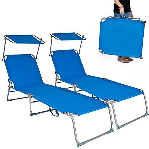 TecTake Gartenliege Sonnenliege Strandliege Freizeitliege mit Sonnendach 190cm -diverse Farben- (2 Stück Blau)
