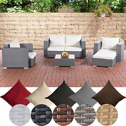 CLP Gartengarnitur Sunset | Sitzgruppe mit 4 Sitzplätzen | Gartenmöbel-Set aus Polyrattan | In verschiedenen Farben erhältlich Grau, Bezugsfarbe: cremeweiß