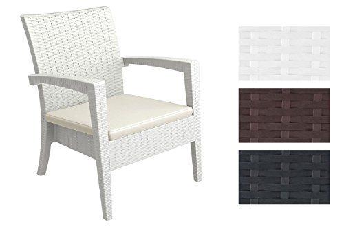 CLP stapelbarer Garten Sessel MIAMI in Rattan Optik, mit Sitzauflage, UV-, farb- und wasserbeständig (aus bis zu 3 Farben wählen) weiß