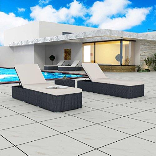 vidaXL 2x Sonnenliege mit Tisch Rattan Gartenliege Polyrattan Liege Liegestuhl