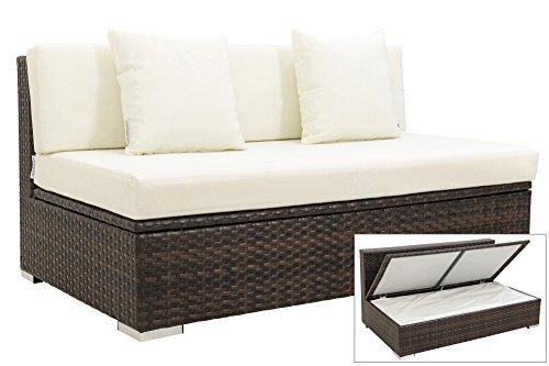 OUTFLEXX 2-Sitzer Mittelelement aus hochwertigem Polyrattan in braun marmoriert mit Boxfunktion inkl. Kissen-Polster, Garten-Sofa Loungesofa Couch für 2 Personen, wetterfest, rostfrei