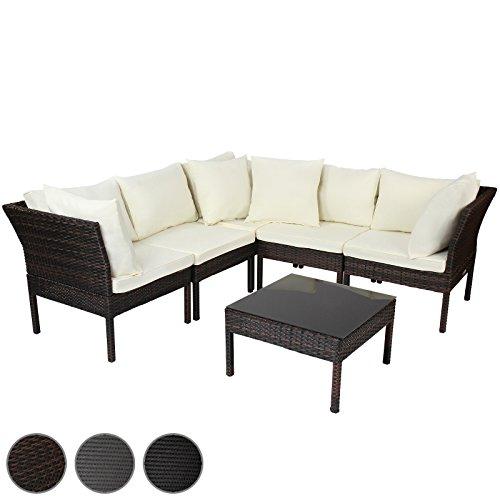 Miadomodo Set Tisch und Sessel aus Polyrattan in grau, braun oder schwarz