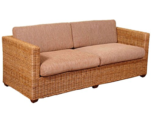 2-Sitzer Rattansofa Loungesofa Cubus crocco natur incl. Sitz- und Rückenkissen