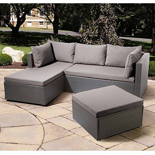 Balkonlounge Polyrattan OUTLIV. Basel - Sonderedition - Günstiges Lounge-Set 3tlg. Ecklounge Grau Loungemöbel Garten Outdoor