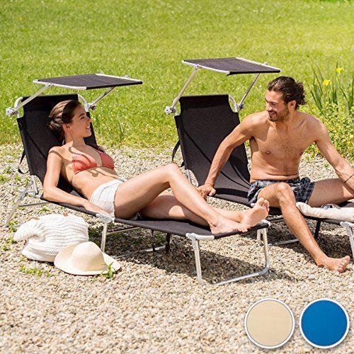 TecTake 2er Set Aluminium Sonnenliege klappbar mit Sonnendach 190cm - diverse Farben - (Beige | no. 401551)