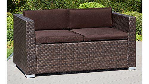baumarkt direkt Loungesofa Bari Deluxe, Polyrattan, braun, inkl. Auflage 145 cm, braun