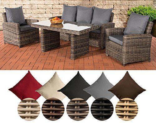 CLP Poly-Rattan Garten-Sitzgruppe FISOLO, 5 mm RUND Rattan, Aluminium-Gestell (3er Sofa, 2 Sessel + Tisch 140 x 80 cm) Rattan Farbe grau-meliert, Bezugfarbe: Eisengrau