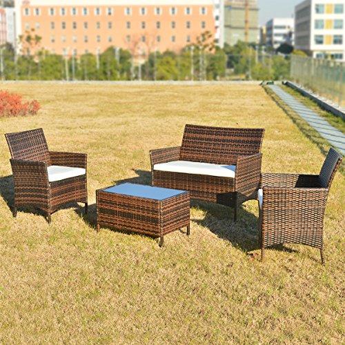 Merax Polyrattan Loungeset Gartenset Gartenmobel Sitzgruppe