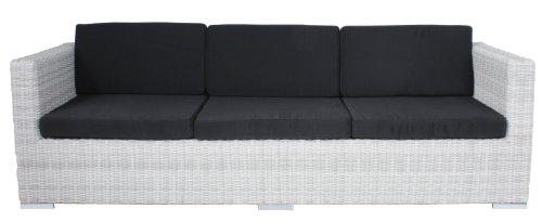"""VARILANDO 5-fach verstellbares Multifunktions-Sofa aus Kunststoffgeflecht in der Farbe """"white wash"""" Lounge-Sofa Garten-Sofa Garten-Couch 3-Sitzer"""