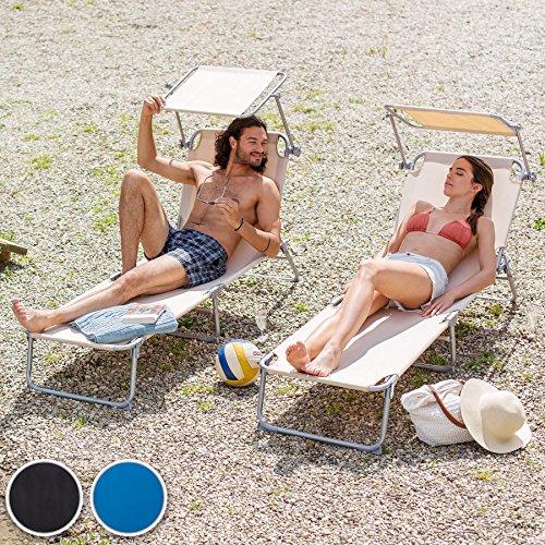 TecTake Gartenliege Sonnenliege Strandliege Freizeitliege mit Sonnendach 190cm -diverse Farben- (2 Stück Schwarz)