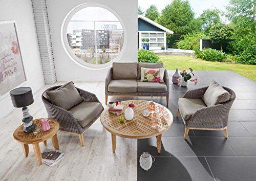 """Loungeset """"San Diego"""" 4-teilig Rattan Loungesessel Tisch Loungesofa Polster Designer Set Möbel Gartenmöbel Wohnzimmergarnitur Rattanset Loungeset"""