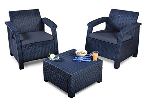 Keter Lounge Set Rattan, WLF Bank, 2-Sitzer, graphit/braungraues Lounge Set in Rattanoptik