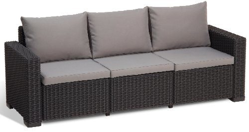 Allibert Lounge Sofa, Balkon, California, Grau, 3-Sitzer Lounge Sofa Rattan