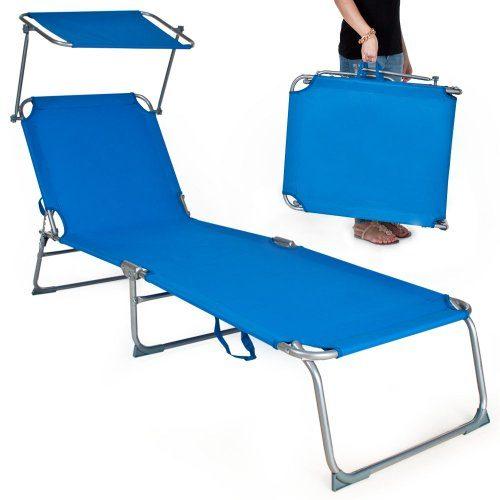TecTake Gartenliege Sonnenliege Strandliege Freizeitliege mit Sonnendach 190cm -diverse Farben- (Blau)