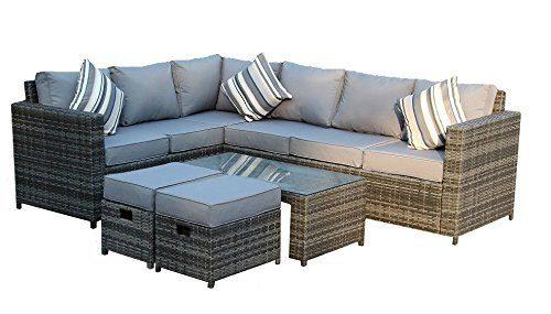 Yakoe Papaver Serie Wintergarten 8 sitzer Ecksofa Poly Rattan Lounge Set Outdoor Gartenmöbel, Grau, 180,5x70x85 cm