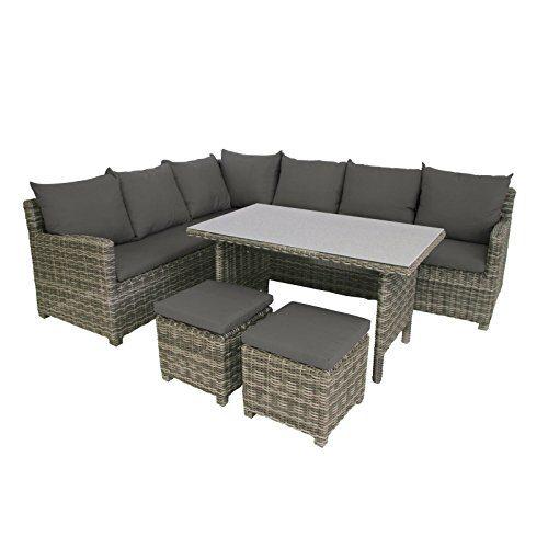 greemotion Rattan-Lounge Set Miami 6tlg - Design-Loungeset für 7 aus Polyrattan für Balkon, Terrasse & Garten - Gartenmöbel in Grau mit Auflagen - 3x Rattansofa-Elemente & 2x Hocker & Spraystone-Tisch