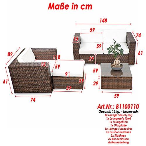 XINRO® erweiterbares 12tlg. Rattan Lounge Möbel Balkon Sitzgruppe - braun-mix - Garnitur Gartenmöbel Lounge Möbel Set Balkon - inkl. Lounge Sofa + Sessel + Hocker + Tisch + Kissen