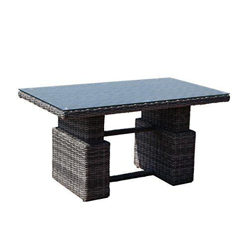 greemotion Tisch Bari grau, Terassentisch mit Gasdruckfeder stufenlos höhenverstellbar, Esstisch mit Glasplatte, Lounge-Tisch für 4 Personen, Gartenmöbel aus Aluminumgestell und Polyrattan, witterungsbeständig