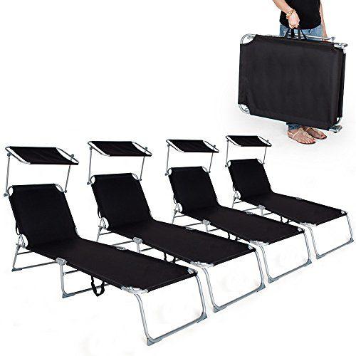 TecTake Gartenliege Sonnenliege Strandliege Freizeitliege mit Sonnendach 190cm -diverse Farben- (4 Stück Schwarz)