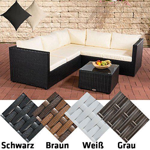 CLP Poly-Rattan Lounge-Set LIBERI, Aluminium-Gestell (3er Sofa + 2er Sofa + Tisch 55 x 55 cm + 9 cm Polster/Kissen) Rattan Farbe schwarz, Bezugfarbe: Cremeweiß
