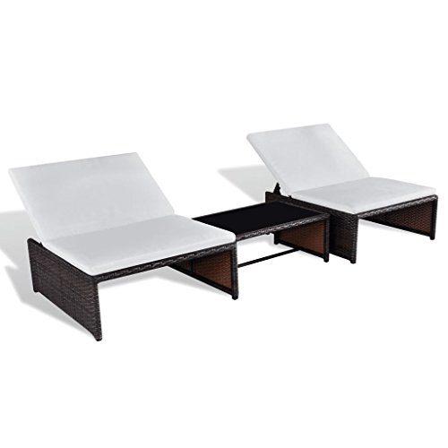 Festnight Polyrattan Lounge Set Zweisitzer Loungemöbel Loungeset Braun