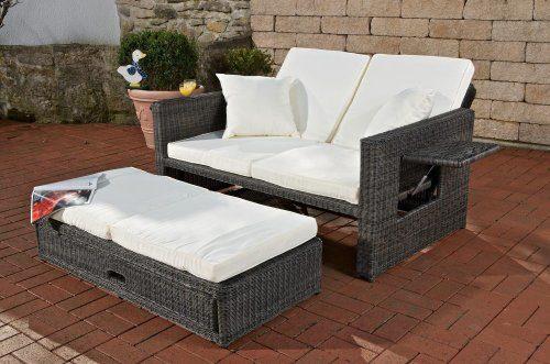 CLP Polyrattan 2er- Loungesofa ANCONA | Garten-Sofa mit ausziehbarem Fußteil und verstellbarer Rückenlehne | In verschiedenen Farben erhältlich Rattan Farbe grau-meliert, Stärke 3 mm, Bezugfarbe: Cremeweiß