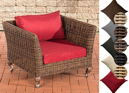 CLP Poly-Rattan Garten-Lounge-Sessel MOSS, ALU Gestell, 100% rostfrei, 5 mm RUND-Rattan Rattanfarbe: Braun-meliert, Bezugfarbe: Rubinrot