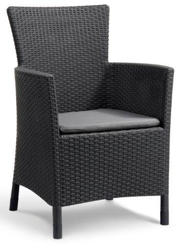 Allibert Dining Sessel Iowa, bequeme und robuste Kunststoffstühle Garten, 62 x 60 x 89 cm, graphit