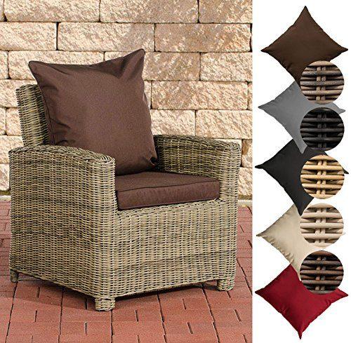 CLP Poly-Rattan Garten-Sessel FISOLO mit Armlehnen, 5 mm Rund-Rattan, ALU Gestell Rattan Farbe: natura, Bezugfarbe: Terrabraun