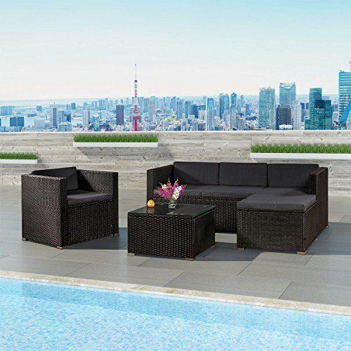 Polyrattan Lounge Punta Cana L für 4-5 Personen mit Tisch in schwarz mit Bezügen in Dunkelgrau | ArtLife