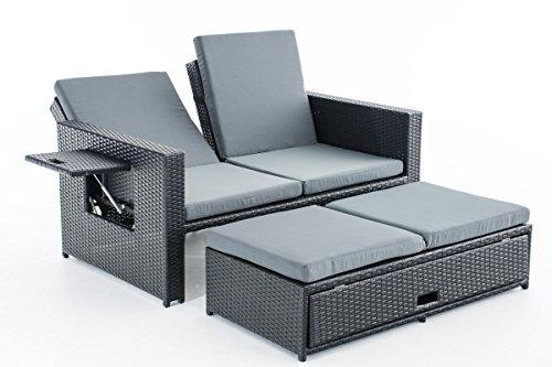 CLP Poly-Rattan 2er Lounge-Sofa ANCONA, ALU-Gestell, Fußteil ausziehbar, flexibel verstellbar Rattan Farbe schwarz, Stärke 1,25 mm, Bezugfarbe: Eisengrau
