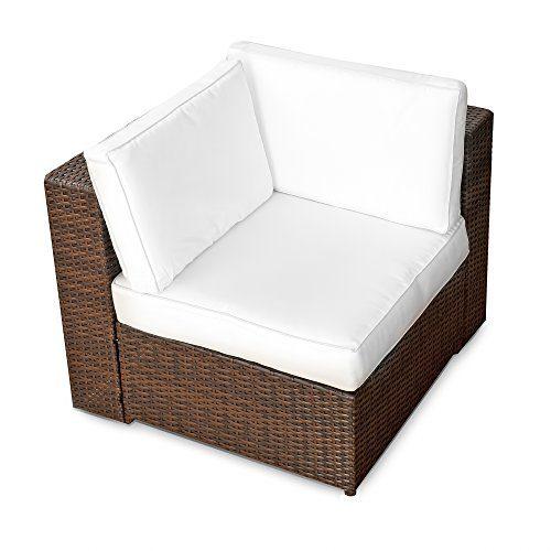 XINRO® 1er Polyrattan Lounge Eck Sessel - Gartenmöbel Ecksessel Rattan - durch andere Polyrattan Lounge Gartenmöbel Elemente erweiterbar - In/Outdoor - handgeflochten - braun