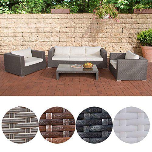 CLP 14 teiliges Set: Polyrattan Gartengarnitur CASABLANCA, mit Aluminiumgestell (3er Sofa + 2 Sessel + Tisch 120 x 64cm + Kissen) grau