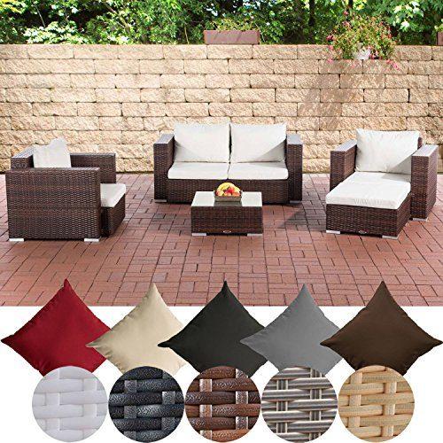 CLP Gartengarnitur Sunset | Sitzgruppe mit 4 Sitzplätzen | Gartenmöbel-Set aus Polyrattan | In verschiedenen Farben erhältlich Braun Meliert, Bezugsfarbe: cremeweiß