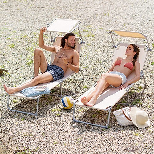 TecTake Gartenliege Sonnenliege Strandliege Freizeitliege mit Sonnendach 190cm -diverse Farben- (4 Stück Beige)