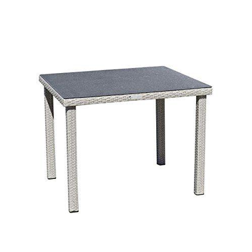 greemotion Gartentisch Malmö Spraystone grau, Outdoor Esstisch, Rattantisch mit Spraystone-Tischplatte, wetter- und witterungsfestes Polyethylengeflecht, besonders pflegeleicht, Maße ca. 80 x 80 x 74 cm