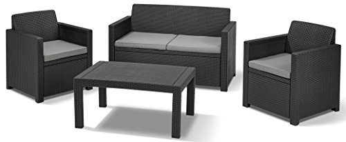 Allibert Lounge Set in Rattanoptik, Merano (2 Sessel, 1 Sofa, 1 Tisch), stabiles Kunststoff , grafit
