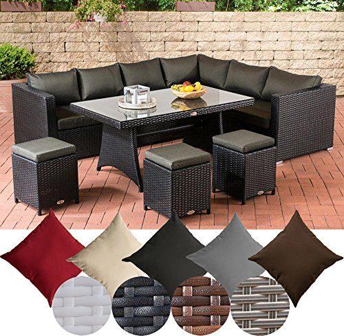 CLP Gartengarnitur SIENA | Sitzgruppe mit 8 Sitzplätzen | Gartenmöbel-Set aus Polyrattan | In verschiedenen Farben erhältlich Bezugsfarbe: Anthrazit, Rattanfarbe: Schwarz